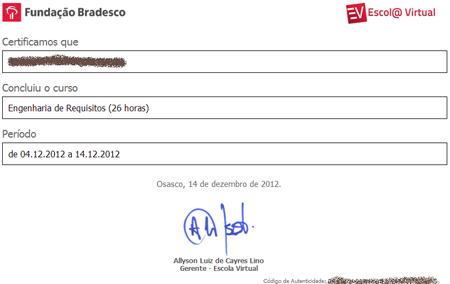 imagem do certificado de um curso on-line gratuito
